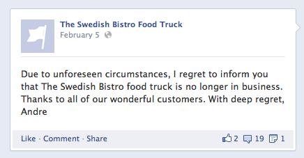 Swedish Bistro Closes