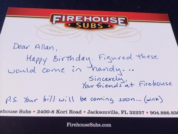 Firehouse Subs - Birthday Card