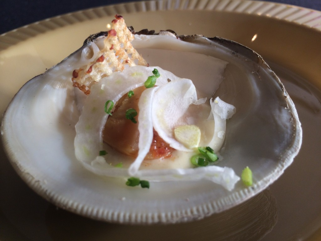 Chefs Garden - Bacon Poached Clam with Celery Cream Fennel and Potato