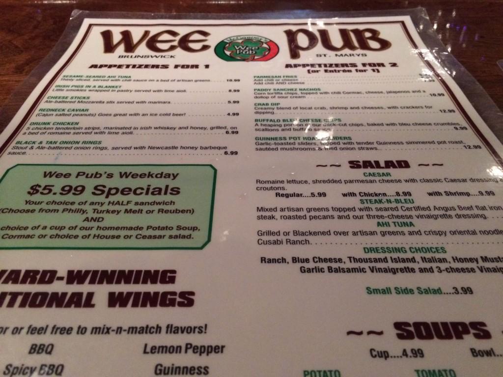 Wee Pub - Menu
