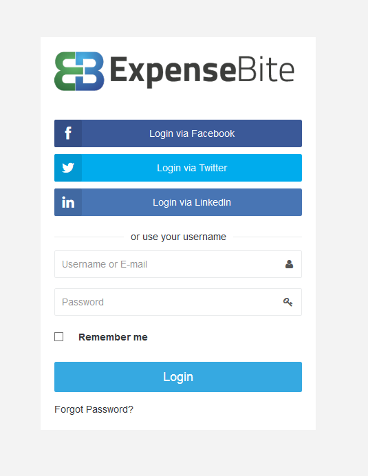 Expense Bite - Log-In Screen
