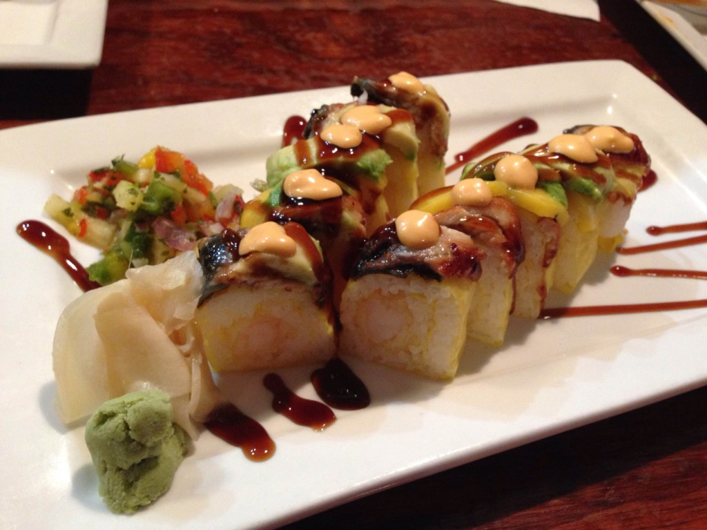 Nippers - Bahama Mama shrimp tempura, avocado, mango, eel, soy paper, spicy mayo, sweet soy reduction.