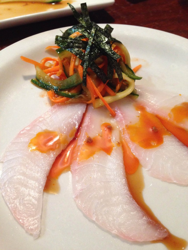 Nippers - Crudo (cobia) with kimchi, sesame oil, garlic ponzo