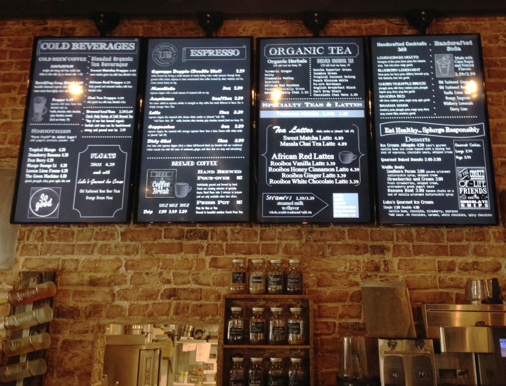 Urban Bean - A Portion of the Menu