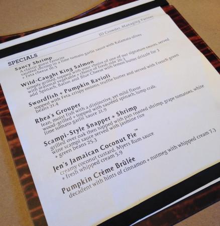 Bonefish Grill - Seasonal Menu