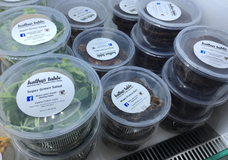 Kathy's Table - Salad, Protein Bars, and Chocolate Pancakes