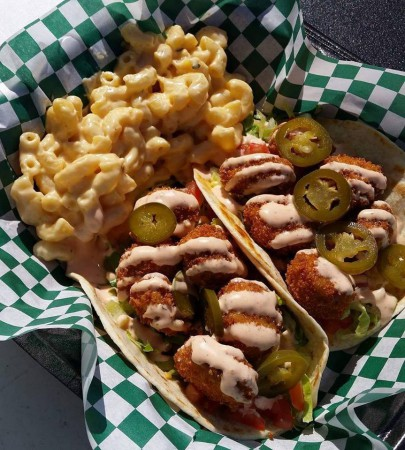 A Flying Sausage - Chicken Tacos and Mac N Cheese