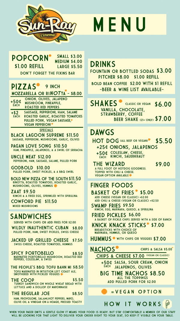 sun ray cinema menu jacksonville restaurant reviews