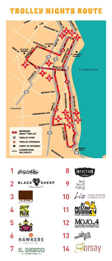 Riverside Avondale Night Trolley - Route Map