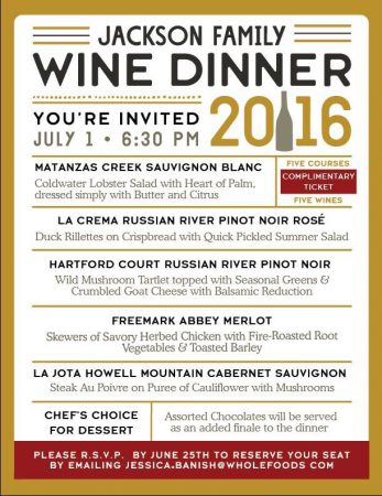 Whole Foods Market Wine Dinner - Menu